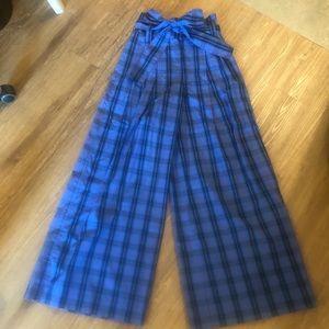 Adorable blue plaid wide leg high wait dress pant